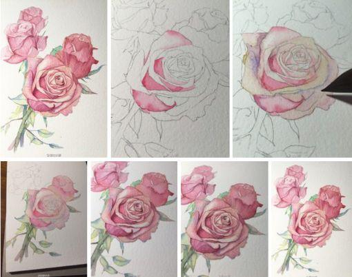 Как нарисовать розу акварелью